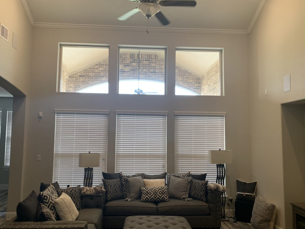 2 1/2 Inch Faux Blinds and Motorized Cordless Cell Shade