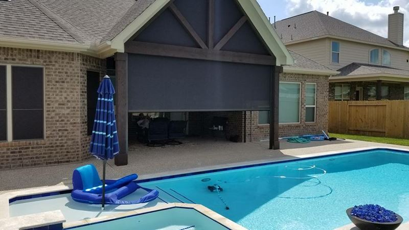 Motorized Patio Roller Shade Installation on Stockport Dr. in League City, TX