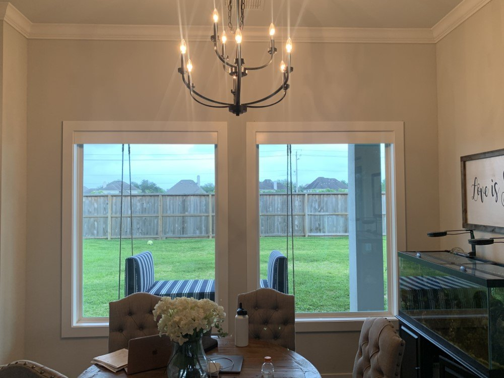 Norman Roller Shade with Wood Valance in Friendswood, TX